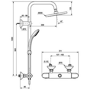 Душевая система с термостатом Ideal Standard IdealRain A6421AA