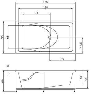 Ванна акриловая Акватика АКСИОМА 175x95