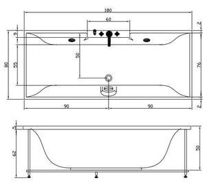 Ванна акриловая Акватика МИНИМА 180х80