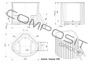 Купель композитная круглая «Корнер» PolarSpa 130х130 термоясень