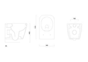 Унитаз подвесной безободковый Berges Wasserhaus QUAD Rimless 51см с сиденьем микролифт