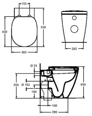 Унитаз-соло напольный приставной Ideal Standard Connect E803401