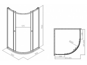 Душевой уголок IFO Silver полукруглый 90*90 стекло матовое RP5190214003
