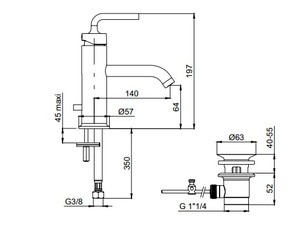 Смеситель для раковины Jacob Delafon Purist E14402-4A-CP