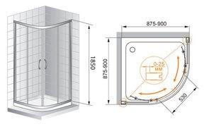 Душевое ограждение 900x900 CEZARES ART-GOTICO R2