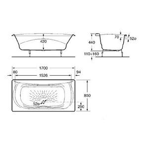 Чугунная ванна Roca Akira 170x85 с отверстиями под ручку