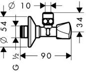 Угловой вентиль с рукояткой Hansgrohe S-design 13901000