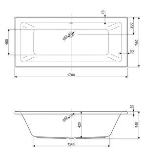 Ванна акриловая CEZARES PLANE MINI 170*75