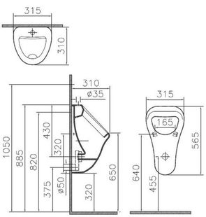 Писсуар подвесной VitrA Arkitekt для наружного монтажа 6202В003-0198