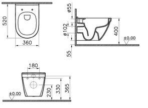 Унитаз подвесной VitrA S50 RIM-EX 7740В003-0075