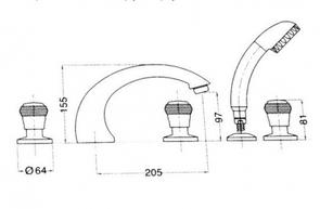Смеситель врезной на борт ванны Migliore Axo Swarovski ML.AXO-680F
