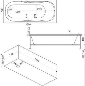 Ванна акриловая BAS Ibica (ИБИЦА) 150x70