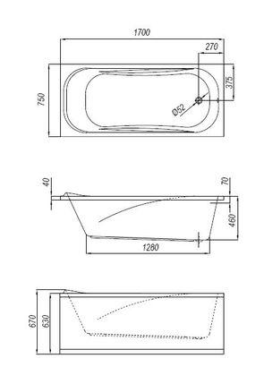 Ванна акриловая Kolpa-san STRING 170x75 с гидромассажем